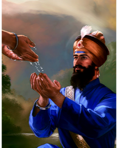 Guru Gobind Singh taking Amrit